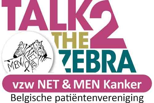 Het logobeeld Talk to the Zebra, dat staat voor doe-activiteit onder lotgenoten en naasten die lid zijn van vzw NET & MEN Kanker