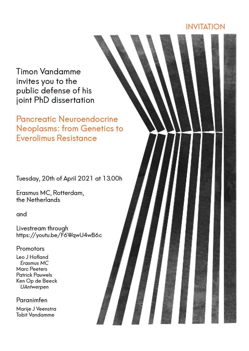 Affiche doctoraat-proefschrift van Timon Vandamme: 'Pancreatic Neuroendocrine Neoplasms: from Genetics to Everolimus Resistance'