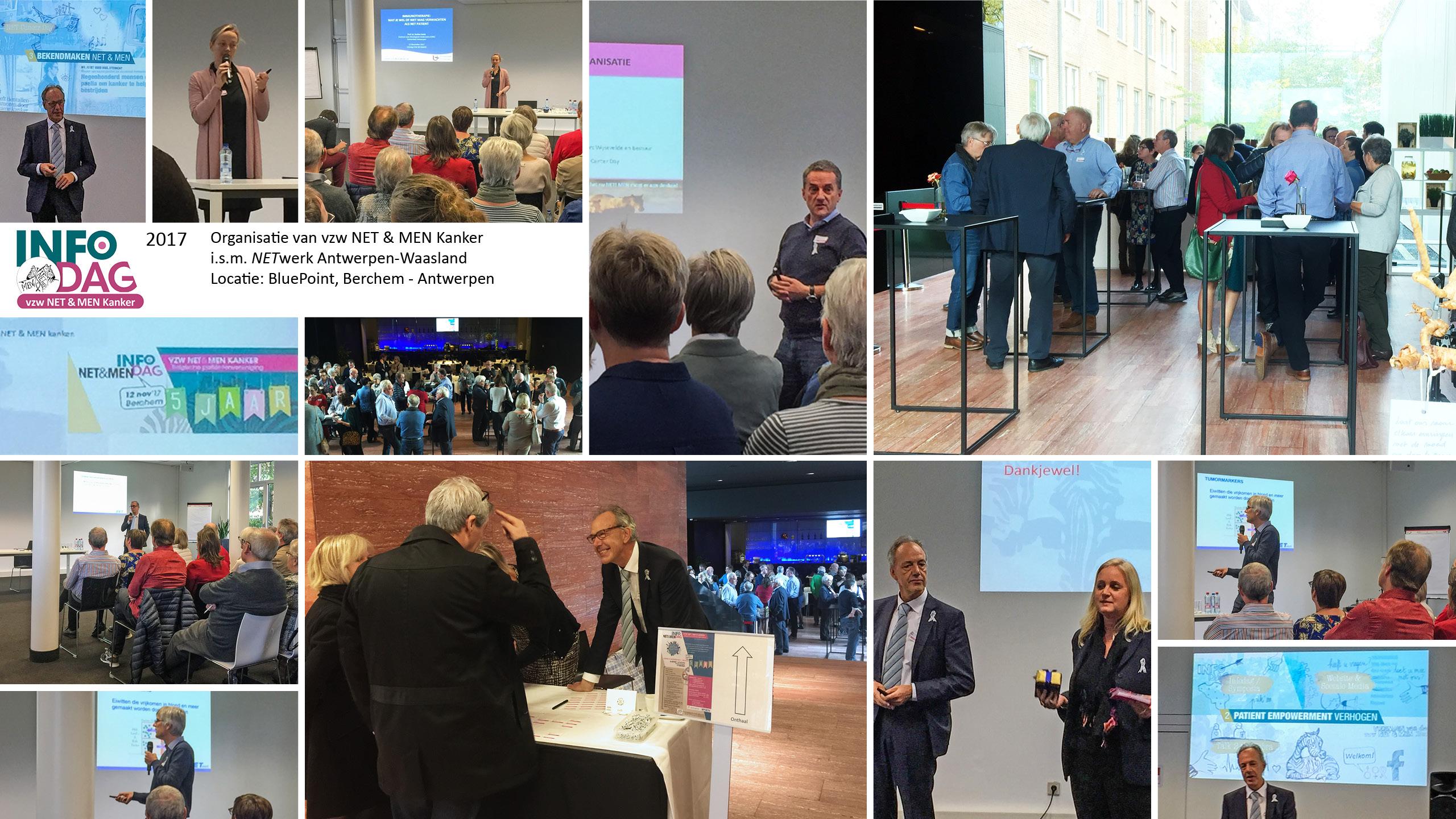 NET & MEN Infodag neuro-endocriene tumoren in 2017 in samenwerking met NETwerk Antwerpen-Waasland. Locatie: Berchem BleuPoint