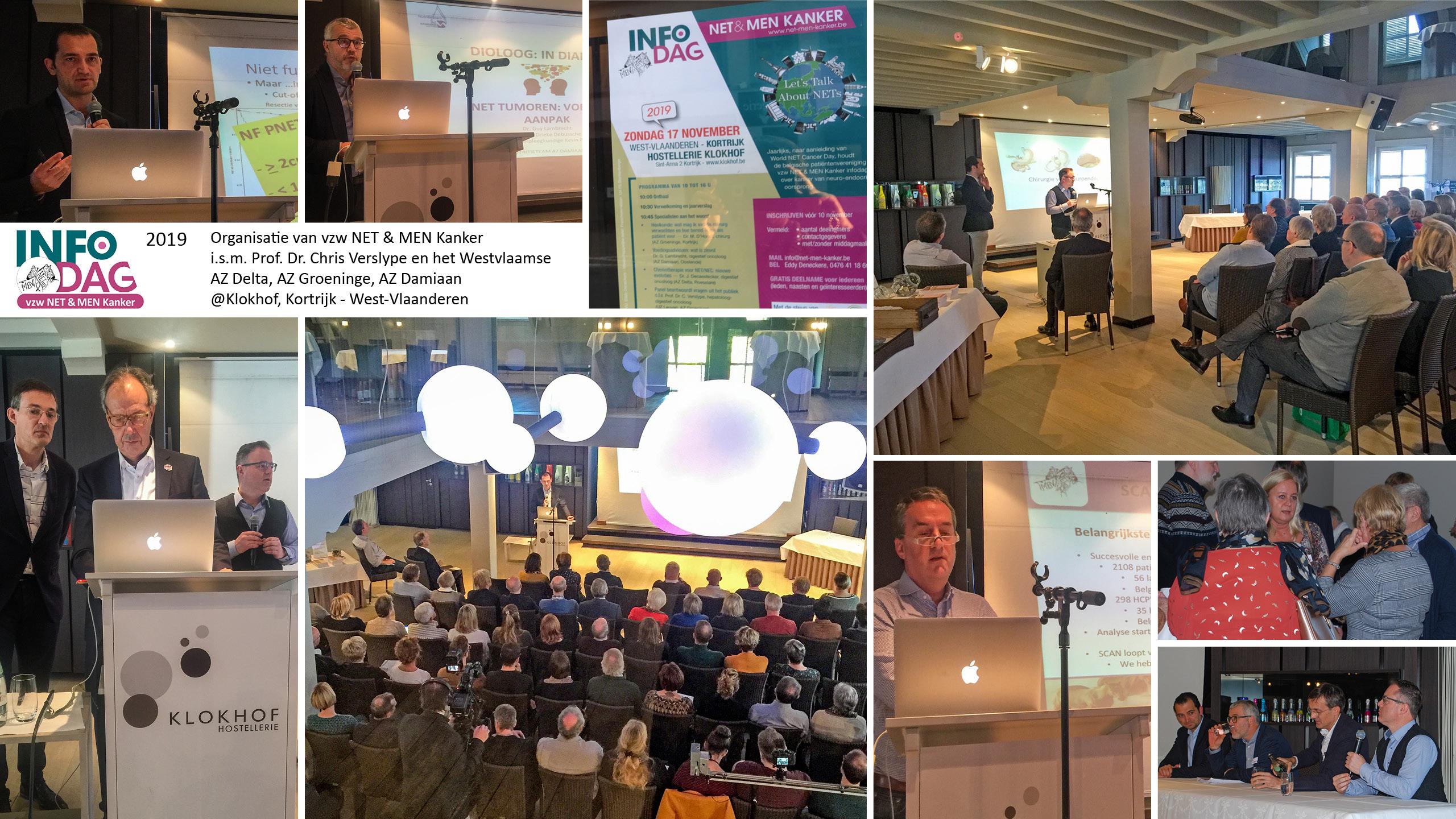 NET & MEN Infodag neuro-endocriene tumoren in 2019 in samenwerking met met AZ Delta, AZ Groeninge, AZ Damiaan en UZ Leuven. Locatie: Klokhof Kortrijk